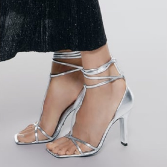 Zara Shoes - NWT ZARA Square Toed Leather Heeled Sandal Silver